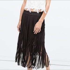 Zara Black Fringe Midi Faux Suede Skirt